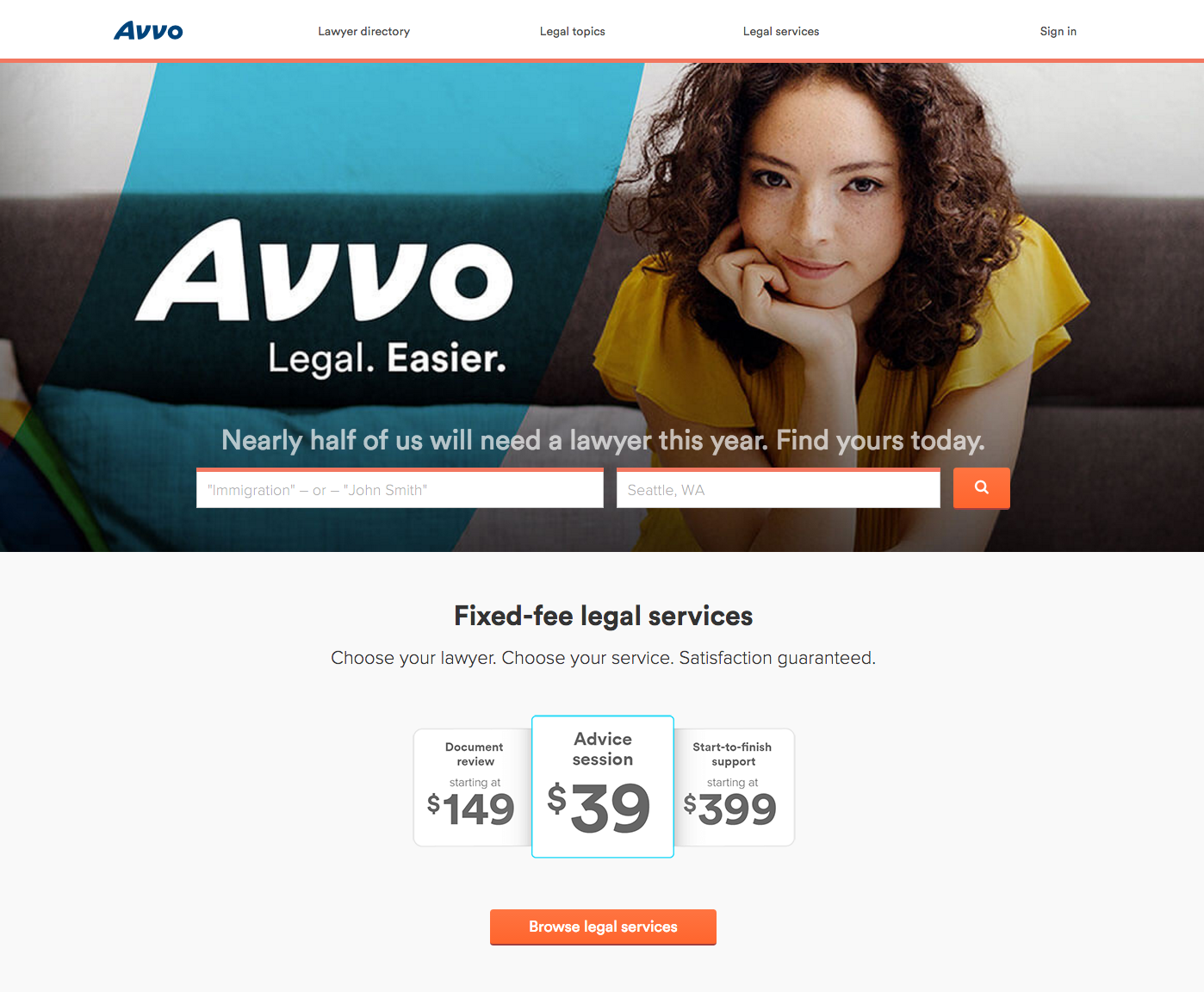 Avvo Homepage with Legal Services