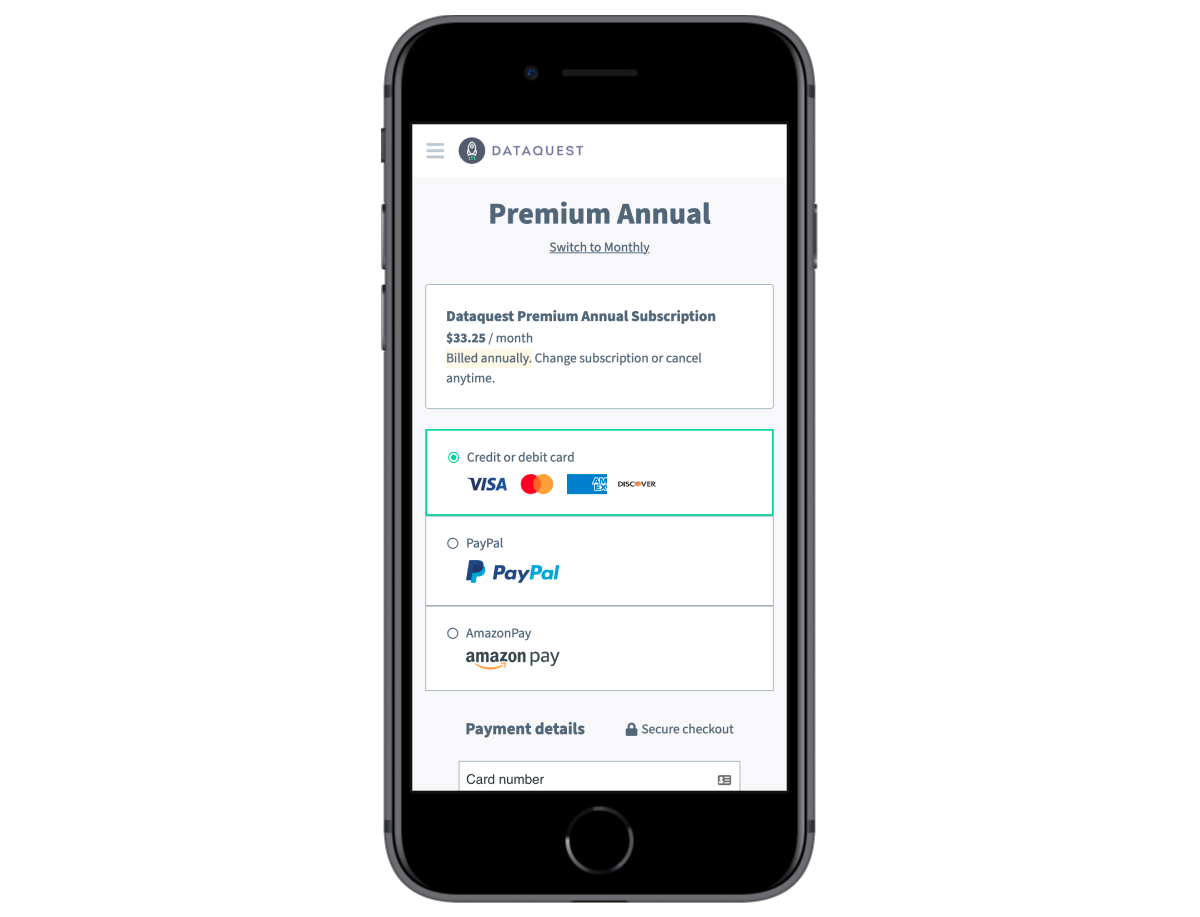 Dataquest Redesigned Checkout